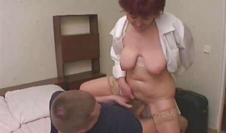 Mom slender with short hair framed her vagina under the sex machine with crustacean and asian anal in the back