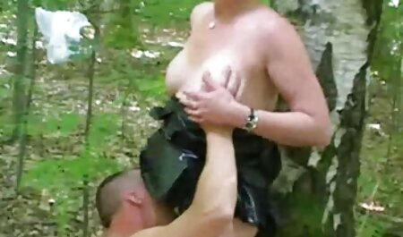 A Black woman, blowjob a white asian mature porn man with a big ass in shorts and dye her dick in L.